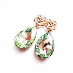 Angelina Jolies Inspired Extra Large Swarovski Crystal Chrysolite Green Earrings with Gold Plated 925 Sterling Silver Posts by ParisOhLaLa, $59.99