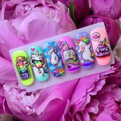Gel Nail Art, Acrylic Nails, Cute Nails, Pretty Nails, Nail Art Dessin, Animal Nail Designs, Unicorn Nail Art, Nail Art Wheel, Fruit Nail Art