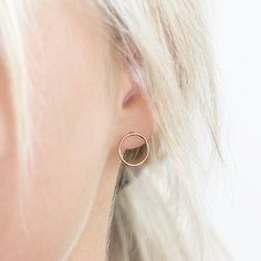 Open Circle Stud Earrings. Dainty, Delicate, Classic with a Modern Twist. In 14k Gold Fill or Sterling Silver. A Simple, Everyday go-to earring youll reach for all the time.  Earrings: The PIROUETTE Studs...  Inspired by the perfect pirouettes of magnificent ballerinas like Ana Pavlova and Misty Copeland, these seemingly simple circular studs exude the understated elegance, determination and strength of some of the world's most beautiful athletes. The perfect studs for any Nutcracker…