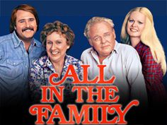"Cast of All in the Family.  Considered ""the most controversial, groundbreaking show of the 70's,"" this sitcom ran from 1971-1979.  Archie Bunker's chair is now housed in the Smithsonian Museum of American History in Washington, D.C."