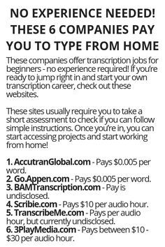 No Experience Needed! These 6 Companies Pay You To Type From Home No Experience Needed! These 6 Companies Pay You To Type From Home – Wisdom Lives Here Ways To Earn Money, Earn Money From Home, Earn Money Online, Online Jobs, Way To Make Money, Money Fast, Life Hacks Websites, Useful Life Hacks, Hacking Websites