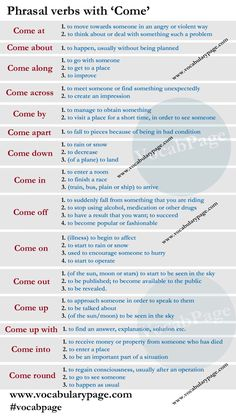 Phrasal verbs with 'Come'