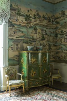Harewood House - beautiful Chinoiserie cabinet and mural in greens.