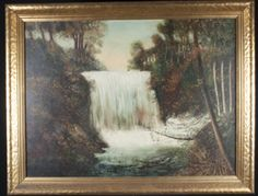 LOVELY FRAMED LANDSCAPE PAINTING OF A WATERFALL AMONGST THE TREES. MEASURES 36WX29H.