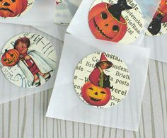 1 Retro Halloween Stickers Handmade Stickers Envelope