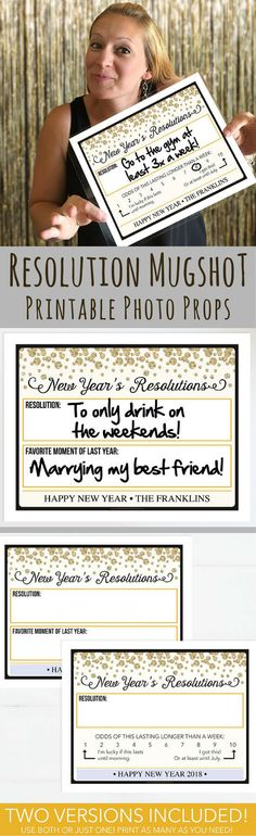 Printable Photo Booth Props - New Year\'s Eve Party Ideas, 2018 New Year\'s Eve Mug Shot, New Year\'s Resolutions, New Years Eve Decorations, Photo Prop, Instant Download, Printable New Years Eve Decor, NYE 2018, DIY New Year\'s Eve Decor, DIY New Year\'s Party Ideas, Photo Wall Backdrop, Picture Booth Prop, New Years Eve 2018 Ideas, Christmas Party Games Ideas, Happy New Year, New Year\'s Resolutions Ideas, NYE Party Decor #ad