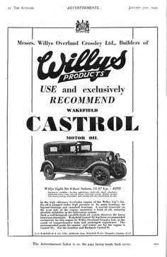Willys 15/47hp Saloon Castrol Motor Car Autocar Advert 1930
