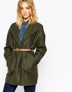 Image 1 - ASOS - Manteau cocon à poches plaquées et ceinture