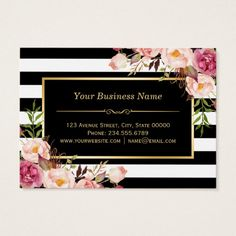 Gift Certificate Gold Floral Black White Stripes Large Business Cards (Pack Of Clear Business Cards, Vintage Business Cards, Salon Business Cards, Custom Business Cards, Business Card Design, Black White Stripes, Black And White, Floral Vintage, Minimalist Business Cards