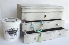 Green Earth Soul on Etsy refinished this jewelwery box using Superior Paint Co. Bone White DIY Chalk Furntiure and Décor Paint White Chalk Paint, Green Earth, Small Spaces, Bones, Cool Stuff, Wood, Modern, Diy, Painting