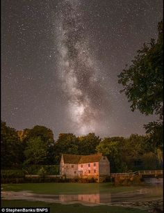 Our galaxy can be seen over Sturminster Newton Mill Vintage Houses, Old Houses, Living In England, Starry Nights, Irish Dance, Stars At Night, English Countryside, British Isles, Milky Way