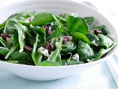 Spinach Salad with Sweet Roasted Pecans and Gorgonzola with Sherry-Shallot Vinaigrette : Creamy Gorgonzola and crunchy pecans come together in this spinach-packed salad.
