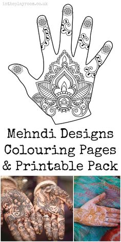 Henna or Mehndi designs colouring pages and printable pack for kids.