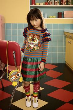 Shop the Look from fadhlisadar on ShopStyle - Gucci Kids Autumn winter 2017 Tween Fashion, Little Girl Fashion, Toddler Fashion, Trendy Fashion, Fashion Outfits, Fashion Clothes, Fashion Tights, Fashion Fall, Fashion Trends