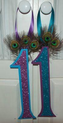 peacock door hangers for the birthday girl!