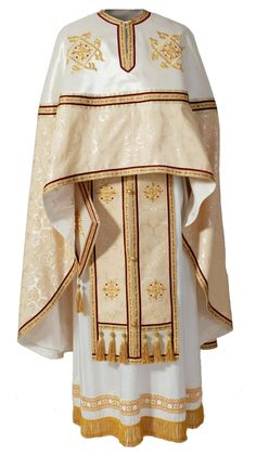 Greek-Style Priest Vestment #OrthodoxChurch #Orthodoxy Fr. Crist once told a child that the people should always wear their best to go to church because look how nice the priest's dress is!  Whenever you see the vestments, you can see the Jewish roots of the Church.