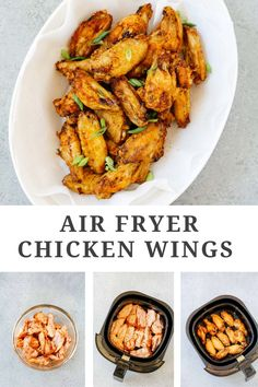 You won't believe how easy it is to make these Air Fryer Chicken Wings! Made with pantry staples, these crispy wings are finger-licking good! Air fried to golden perfection, these wings are going to disappear fast off your dinner table #airfryerchickenwings #airfryerchickenwingsrecipe Gluten Free Recipes For Breakfast, Best Gluten Free Recipes, Whole 30 Recipes, Low Carb Recipes, Chicken Wing Recipes, Healthy Chicken Recipes, Healthy Appetizers, Appetizer Recipes, Air Fryer Chicken Wings