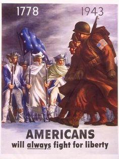 Poster, Americans will always fight for liberty, 1943, para promover el patriotismo durante la II Guerra Mundial