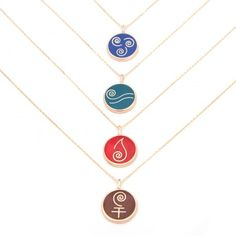 Mesele Enamel Necklace Collection with element symbols