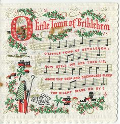Vintage Christmas Ephemera ~ O Little Town of Bethlehem Paper Napkin