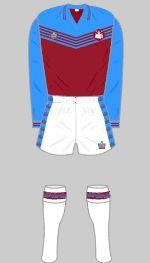 West Ham 1976-1977 Kit West Ham, Football Kits, Adidas Jacket, Gym Shorts Womens, The Unit, Jackets, Blowing Bubbles, London Calling, Blue