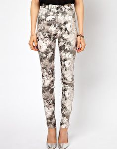 Just Female Stroke High Waist Skinny Jeans In Floral Print Just Female
