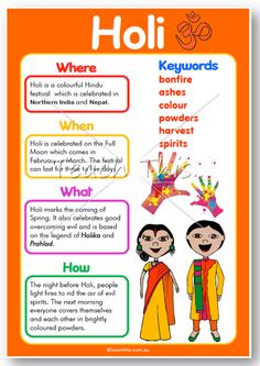 This poster was created to support the Year 3 History Curriculum. Holi is a colourful Hindu festival which is celebrated in Northern India and Nepal.