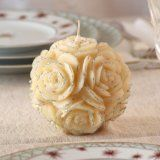 """Wedding / Bridal Shower/ Party Floral Round Shaped Candle 4""""x 3.75"""" (White/Silver Trim) (Kitchen)By JEM"""
