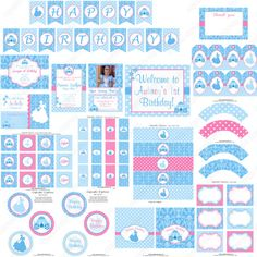 DIY Cinderella Inspired Deluxe PRINTABLE  birthday party package blue pink silver princess on Etsy, $35.00