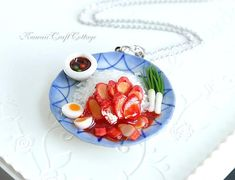 Miniature Food Jewelry Pendant Necklace Fake Food Charsiew Noodles Asian Food Whimsical Cute Kawaii Statement Jewelry Tea Party Foodie Gifts