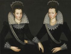 Circle of Robert Peake the Elder (c.1551-1619) — Portrait of Two Sisters, Probably Anne of Denmark (right), and Her Sister, Princess Elisabeth, c. 1580-1600 (1280×982)