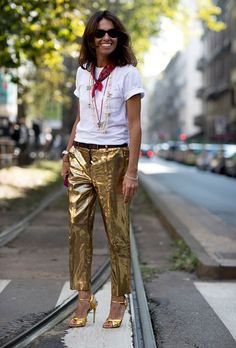 Browse the Best Street Style Outfits from Milan Fashion Week Spring 2017 at @StyleCaster | bandana, white tee, metallic slacks and heels