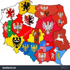 Poland in coat of arms of voivodeships Polish Heraldic Poland Map, Poland Travel, Polish Symbols, Poland History, Visit Poland, Polish Folk Art, 1 Tattoo, Flags Of The World, Arte Popular