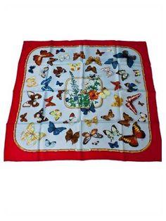 Vintage Hermes Silk Scarf Farandole Butterfly Print