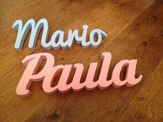 Nombres decorativos Mario y Paula. Decorative letters
