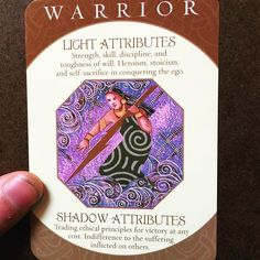 """I put an intention out there before I pulled from a deck of Archetypes to find my most dominant personality. """"The Warrior""""  I have some work to do in improving my Light Attributes. Also my Shadow Attributes are prevalent and need addressing haha  Today what is one thing you can do to improve a part of yourself so your future self thanks you for it?  #intention #energy #energyhealing #archetype #lawofattraction #selfactualization #lifepurpose #success"""