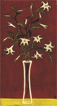 Vase of Lilies with Red Ground - Sanyu