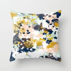 Sloane - Abstract painting in modern fresh colors navy, mint, blush, cream, white, and gold Throw Pillow