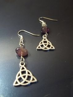Amethyst Drop & Triquetra Earrings by CellDara on Etsy, $5.00