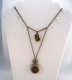 Pocket Watch Necklace, Pendant Watch, Repurposed Vintage Jewelry, Pearls. $25.00, via Etsy.