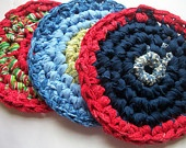 Crocheted hot pad blue and red rag country rustic cottage