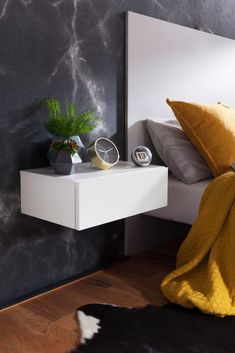 My home is my castle - Zauberhafte Wohnideen Stylish and practical at the same time: This bedside ta Wall Shelf With Drawer, Wood Wall Shelf, Drawer Shelves, Wall Shelves, Floating Wall, Floating Nightstand, Bedroom Wall, Bedroom Decor, Rustic Home Interiors
