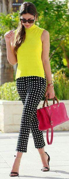 Bright spring outfit. Lime with black & white pants red purse