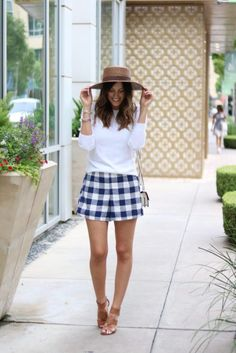 Gingham Shorts // Style The Girl Old Navy Shorts, Target Sweater, Forever 21 Hat and Crossbody