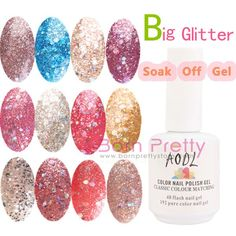 USD $10.10 1PC 15ml Big Glitter Color UV Builder Polish Soak Off Gel- 12 colours - BornPrettyStore.com