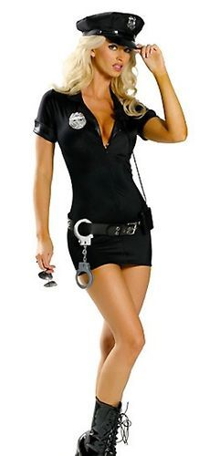 5 pcs adult halloween costume sexy cop girl - Girls Cop Halloween Costume