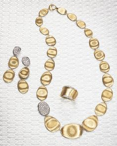 """Marco Bicego Diamond Lunaria Collar Necklace in 18K Gold, 16.5"""" 