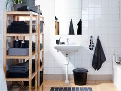black and white and wood, bathroom inspiration from IKEA