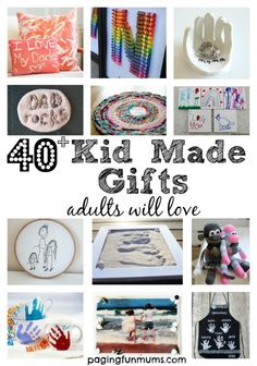 40 Gift Ideas Made by Kids! Precious keepsakes that mean more than a store bought gift! 40 Gift Ideas Made by Kids! Precious keepsakes that mean more than a store bought gift! Kid Made Christmas Gifts, Kids Christmas, Xmas, Handmade Christmas Gifts From Children, Christmas Crafts, Kids Holidays, Christmas Birthday, Kids Gifts, Craft Gifts