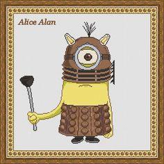 Cross Stitch Pattern Minion Doctor Who Dalek Police by HallStitch